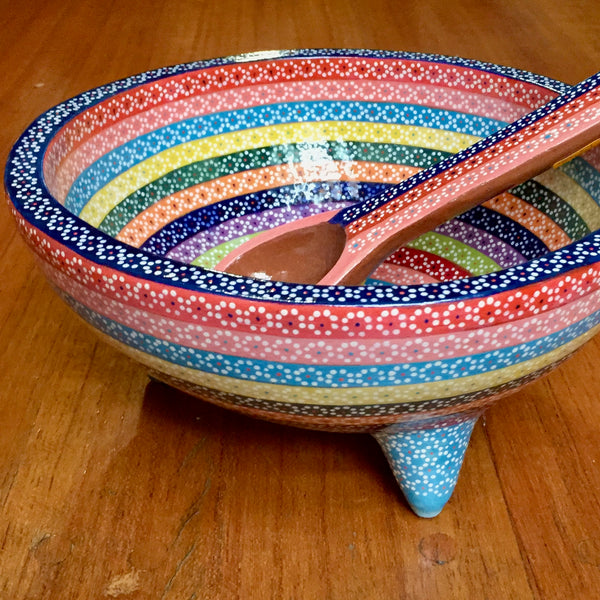 Molcajete serving dish / Rainbow / Royal Blue Rim