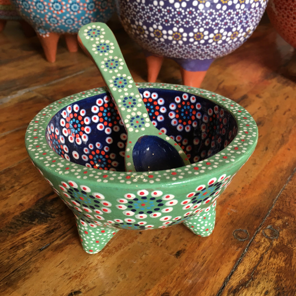 Molcajete Salsa Bowl / Green & Royal Blue with Large Flowers