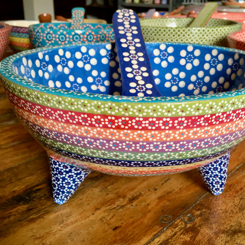 Molcajete Serving Bowls / Rainbow & Blue with Large Flowers