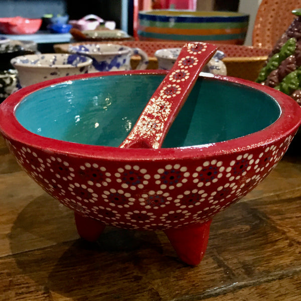 Molcajete Serving Bowl / Red & Turquoise