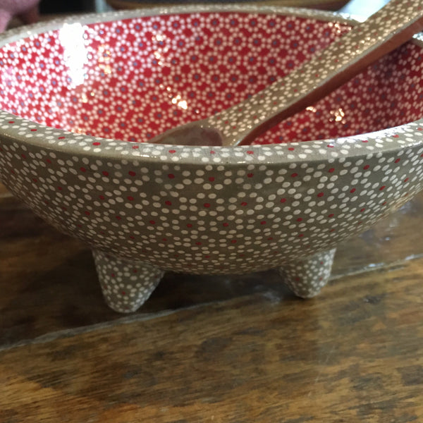 Molcajete Serving Bowls / Grey & Red