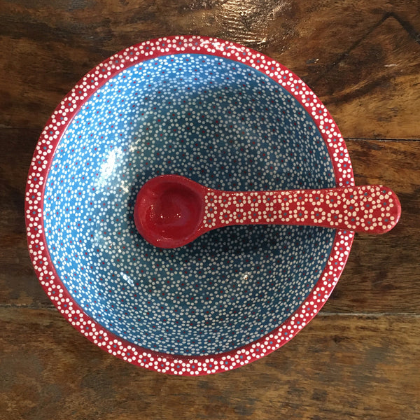 Molcajete Serving Bowls / Red & Turquoise