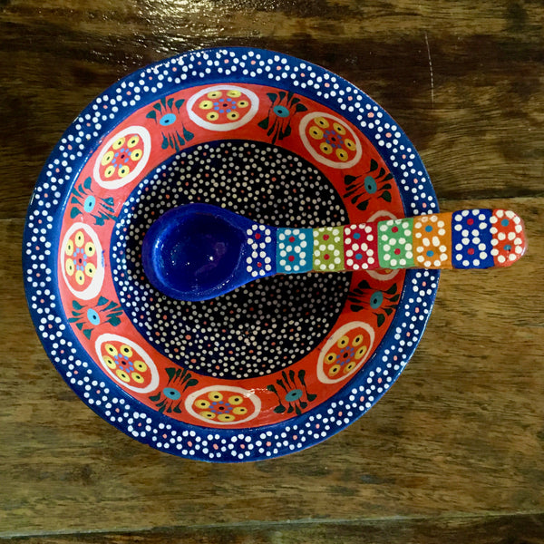 Molcajete Salsa Bowl / Royal Blue & Orange