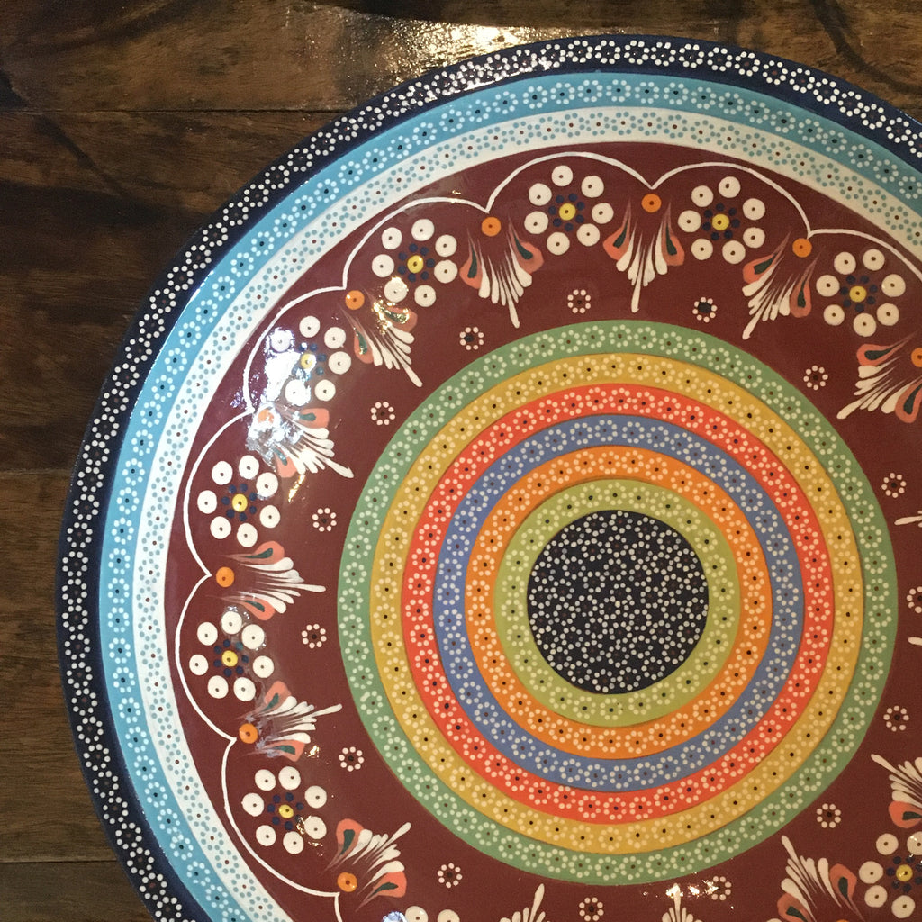 "Platter / ""Platillo Volante"" / Deep Red with Rainbow Details"