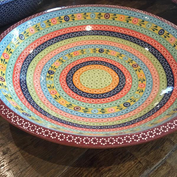 "Platter / ""Platillo Volante"" / Rainbow with Flowers / Deep Red Trim"