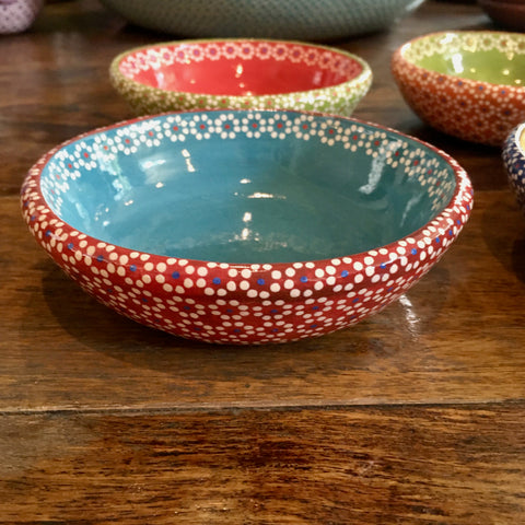 Salsa / Snack Dishes - Two-tone / Red & Turquoise