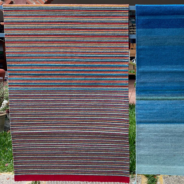 Area Rug 2.5' x 5' / Handwoven Wool from Oaxaca / Thin Rainbow Stripes