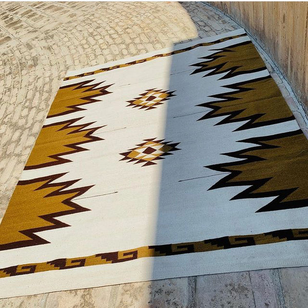 Zapotec Area Rug / Handwoven Wool from Oaxaca / Agave, Diamantes, y Mitla / Gold and Burgundy