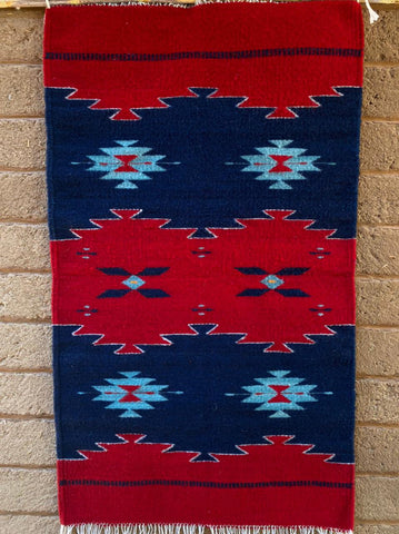 Area Rug 2' x 3' / Handwoven Wool from Oaxaca / Wavy Diamonds / Red and Blue
