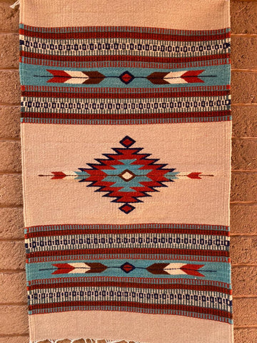Area Rug 2' x 3' / Handwoven Wool from Oaxaca / Diamantes y Flechas