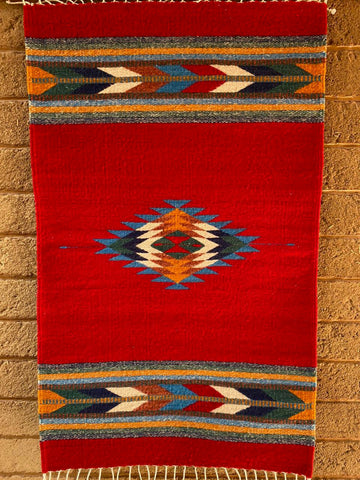 Area Rug 2' x 3' / Handwoven Wool from Oaxaca / Red / Diamantes y Flechas