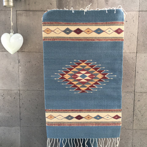 Zapotec Area Rug / Handwoven Wool from Oaxaca / Ocean Blue with Sand & Burgundy Diamond