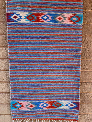 Area Rug 2' x 3' / Handwoven Wool from Oaxaca / Stripes with Diamantes / Blues & Reds