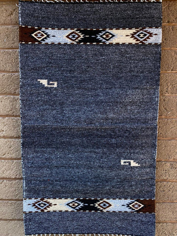 Area Rug 2' x 3' / Handwoven Wool from Oaxaca / Grey with Diamantes y Mitla