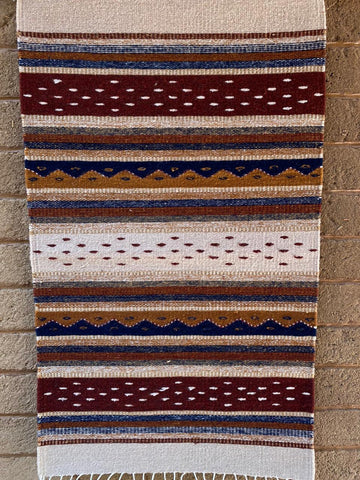 Area Rug 2' x 3' / Handwoven Wool from Oaxaca / Montañas y Lluvia / Burgundy and Blue
