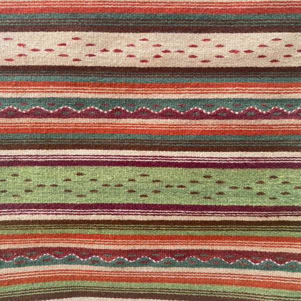 Zapotec Area Rug 2' x 3' / Handwoven Wool from Oaxaca / Montañas y Lluvia / Tan, Green, and Red