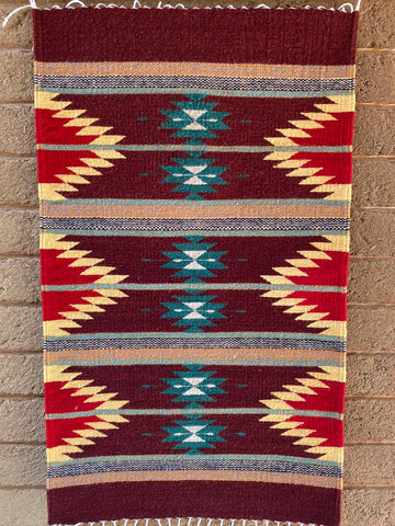 Area Rug 2' x 3' / Handwoven Wool from Oaxaca / Lightning & Diamantes / Burgundy and Yellow