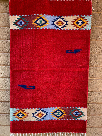 Zapotec Area Rug 2' x 3' / Handwoven Wool from Oaxaca / Red with Diamantes y Mitla