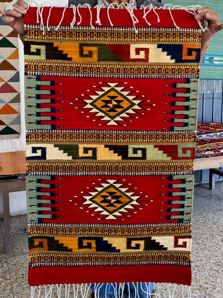 Area Rug 2' x 3' / Handwoven Wool from Oaxaca / Diamantes, Velas, & Caracol / Red Palette