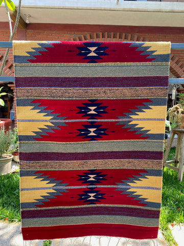 Area Rug 2.5' x 5' / Handwoven Wool from Oaxaca / Agave y Diamantes / Red with Plum and Multicolor Details