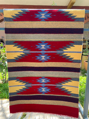 Area Rug 2.5' x 5' / Handwoven Wool from Oaxaca / Agave y Diamantes / Red with Turquoise and Multicolor Details