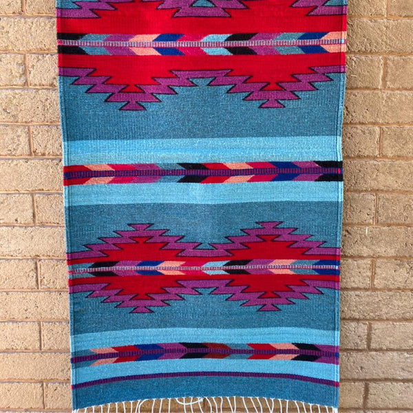 Area Rug 2.5' x 5' / Handwoven Wool from Oaxaca / Diamonds & Arrows / Vivid Blues & Reds