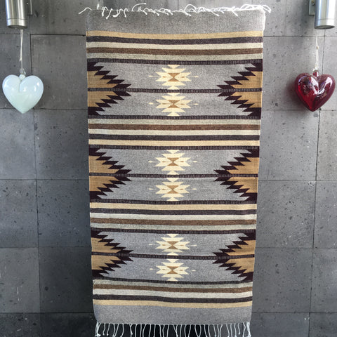 Area Rug 2.5' x 5' / Handwoven Wool from Oaxaca / Agave & Diamantes / Grey, Plum, and Tan