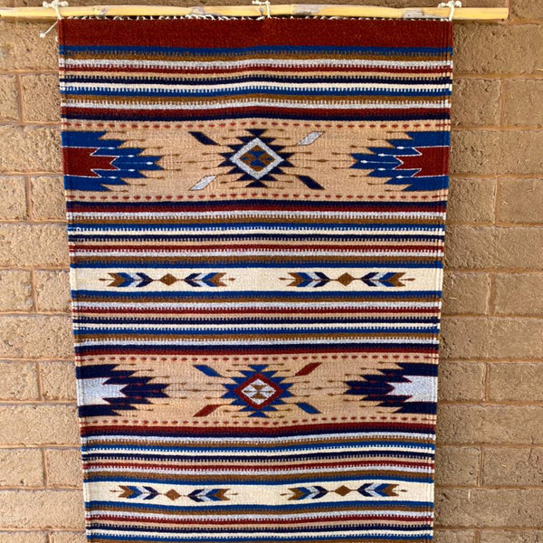 Area Rug 2.5' x 5' / Handwoven Wool from Oaxaca / Diamonds, Agave, & Arrows / Tan, Red, and Blue