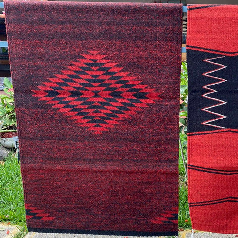 Zapotec Area Rug 2.5' x 5' / Handwoven Wool from Oaxaca / Diamante / Red & Royal Blue