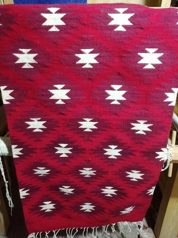 "Area Rug 2.5' x 5' / Handwoven Wool from Oaxaca / ""Estrellas Carmín"" / Red Stars"