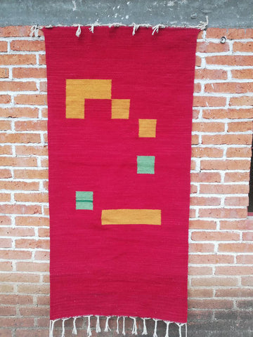 Area Rug 2.5' x 5' / Handwoven Wool from Oaxaca / Red with Yellow and Mint