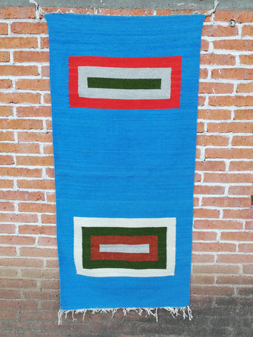 Area Rug 2.5' x 5' / Handwoven Wool from Oaxaca / Turquoise with Rectangles