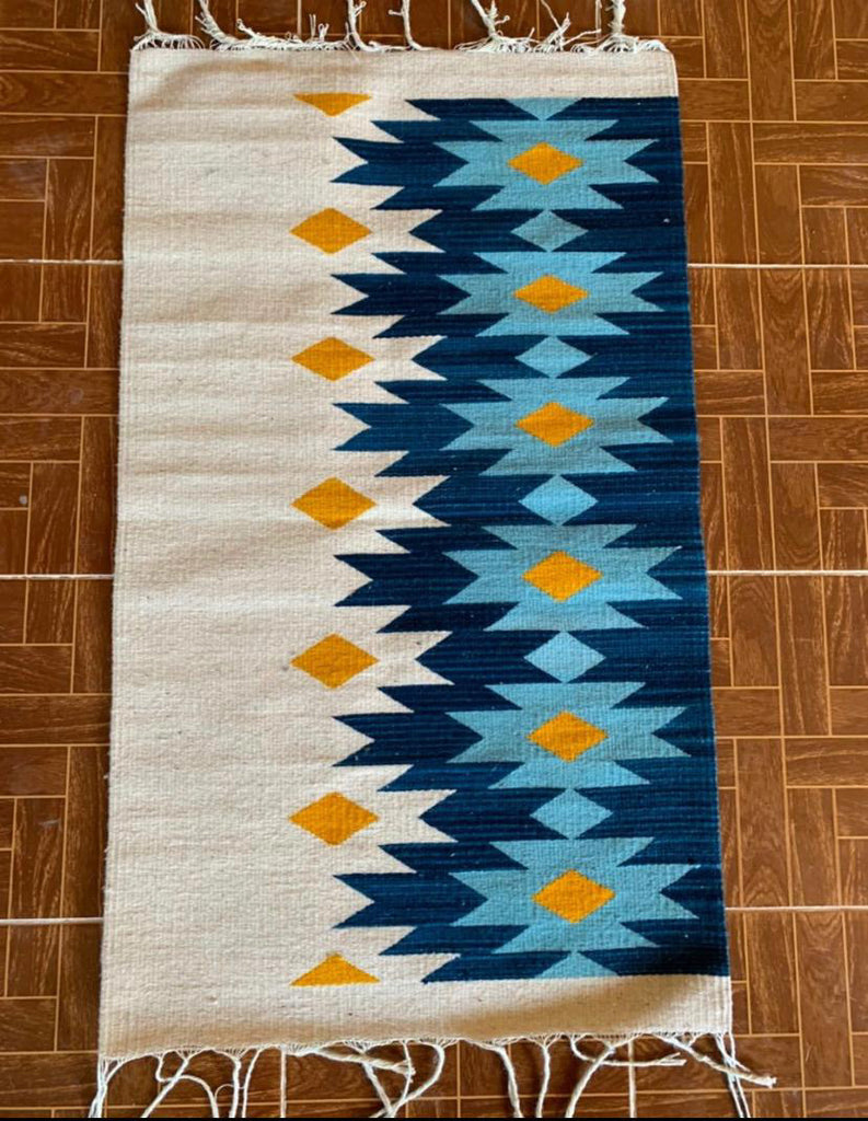 Area Rug 2' x 3' / Handwoven Wool from Oaxaca / Diamantes
