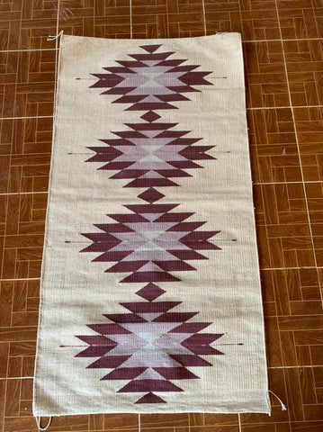 "Area Rug 2.5' x 5' / Handwoven Wool from Oaxaca / ""Diamantes"" / Plum & Pink"