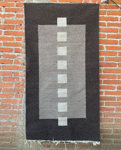 "Area Rug 2.5' x 5' / Handwoven Wool from Oaxaca / ""Cuadros"" / Black, Grey, and White"