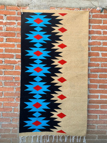 Area Rug 2.5' x 5' / Handwoven Wool from Oaxaca / Diamantes / Blue, Red, and Natural