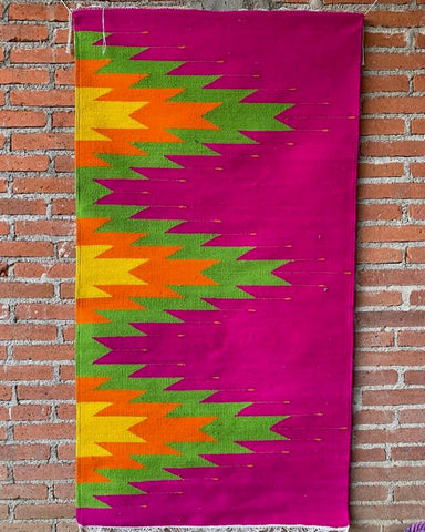 Area Rug 2.5' x 5' / Handwoven Wool from Oaxaca / Agave / Bright Multicolor