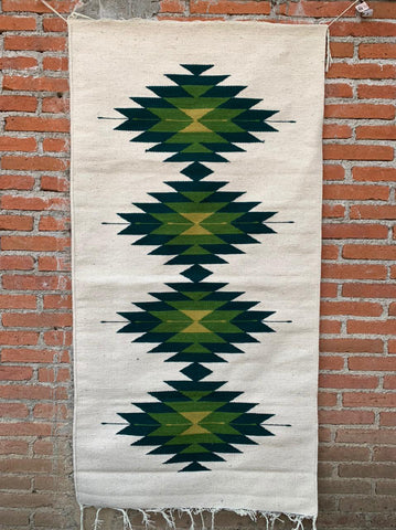 "Area Rug 2.5' x 5' / Handwoven Wool from Oaxaca / ""Diamantes"" / Green Tones"