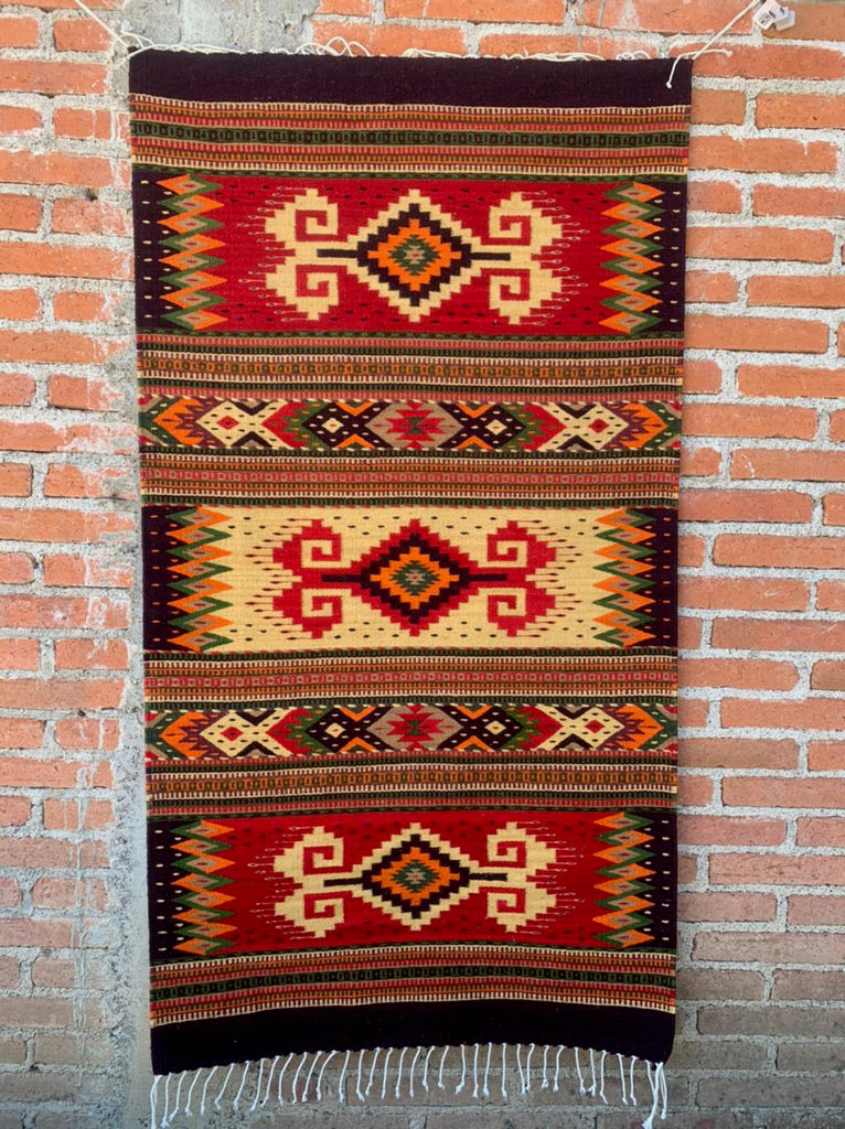 "Area Rug 2.5' x 5' / Handwoven Wool from Oaxaca / ""Diamantes y Caracol"" / Vivid Red & Black Palette"