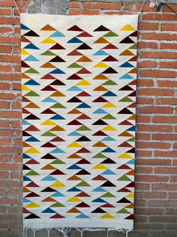 "Area Rug 2.5' x 5' / Handwoven Wool from Oaxaca / ""Pirámides"" / Multicolor"