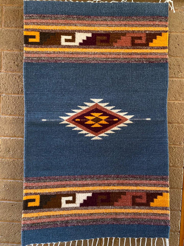 Area Rug 2' x 3' / Handwoven Wool from Oaxaca / Diamantes y Mitla / Ocean Blue