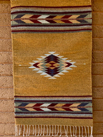 Area Rug 2' x 3' / Handwoven Wool from Oaxaca / Diamantes & Flechas / Mustard & Burgundy