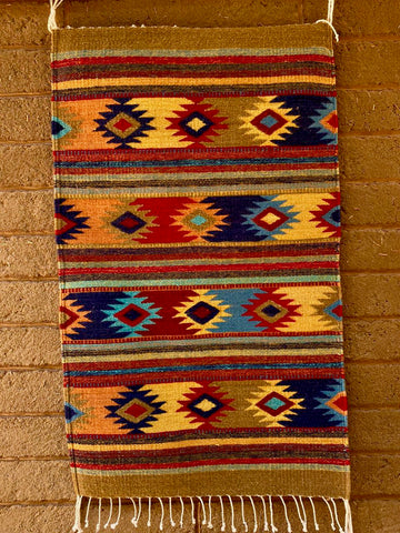 Area Rug 2' x 3' / Handwoven Wool from Oaxaca / Diamantes / Tan