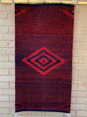 Area Rug 2.5' x 5' / Handwoven Wool from Oaxaca / Diamante / Red & Royal Blue