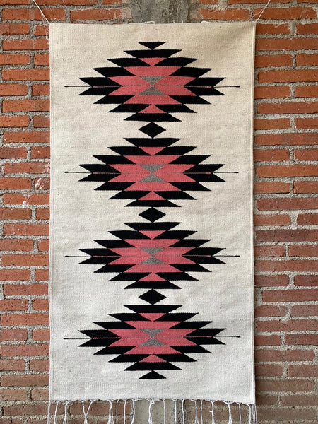 Area Rug 2.5' x 5' / Handwoven Wool from Oaxaca / Diamantes in Pink & Black