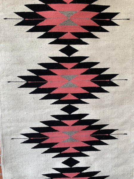 Area Rug 2.5' x 5' / Handwoven Wool from Oaxaca / Diamantes / Melon, Grey, and Black