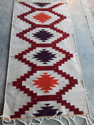 Area Rug / Handwoven Wool from Oaxaca / Diamantes / Multicolor