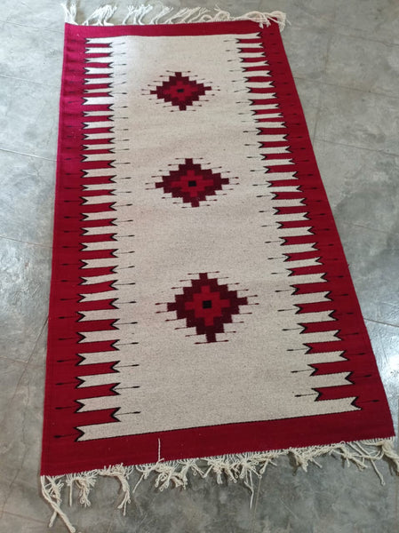 Area Rug / Handwoven Wool from Oaxaca / Diamantes y Velas / Red, White, and Black