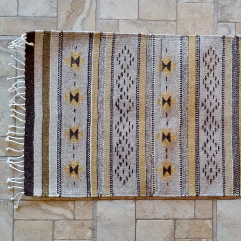 "Zapotec Area Rug 2.5' x 5' / Handwoven Wool from Oaxaca / ""Mariposas y Lluvia"" / Neutral Tones"
