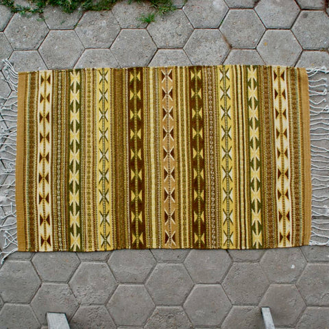 "Zapotec Area Rug 2.5' x 5' / Handwoven Wool from Oaxaca / ""Mariposas y Lluvia"" / Golden Earth Tones"